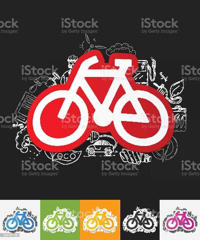 Fahrrad Papieraufkleber Mit Hand Gezeichnet Elemente Stock