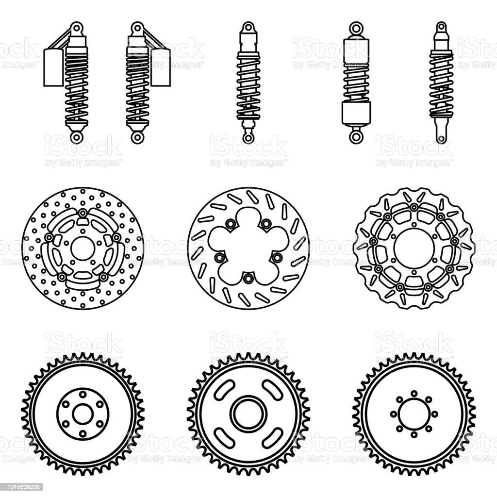 Bicycle part icons set. Suspension shocks, brake disc and sprocket wheel. Vector thin line vector art illustration