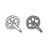 cartoon drawing of a bicycle crankset