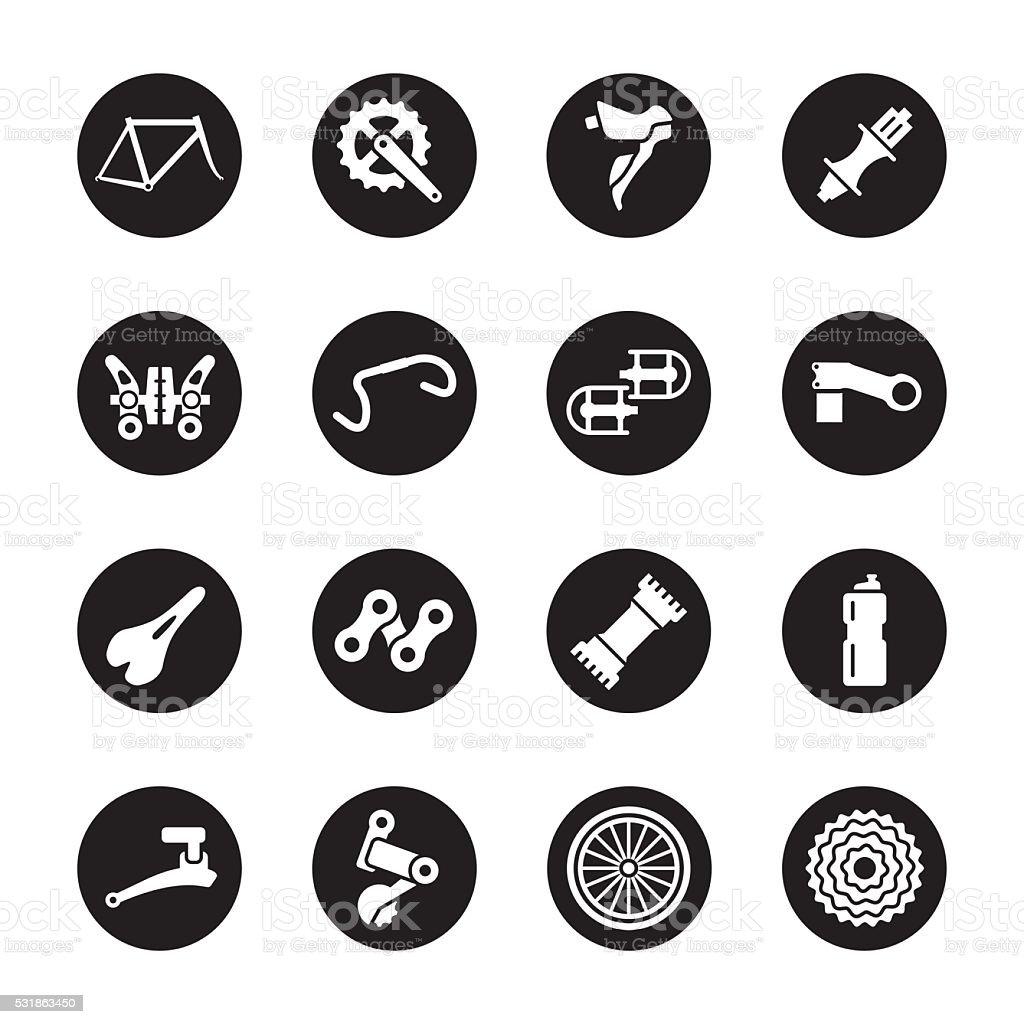 Bicycle Parts Icons - Black Circle Series vector art illustration