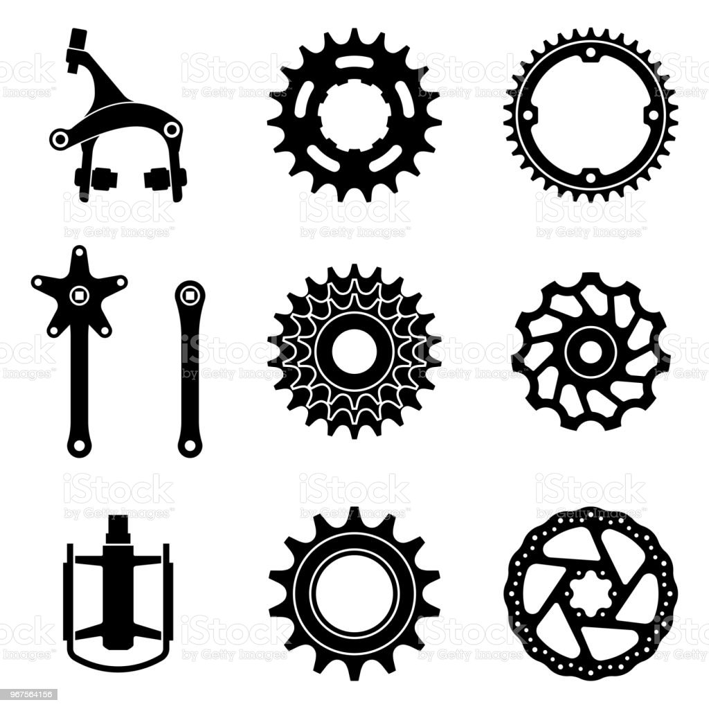 Bicycle parts icons set. Silhouette vector vector art illustration