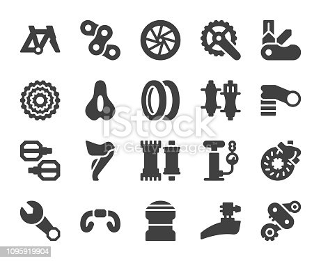 Bicycle Parts Icons Vector EPS File.