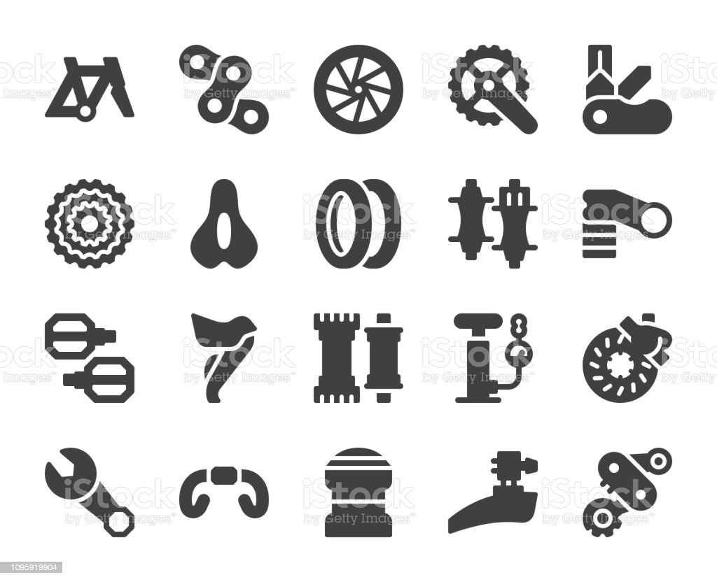 Bicycle Parts - Icons vector art illustration