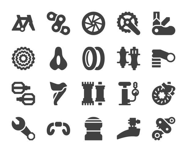 ilustraciones, imágenes clip art, dibujos animados e iconos de stock de piezas de la bicicleta - iconos - pedal
