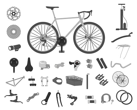 Bicycle parts illustration set material
