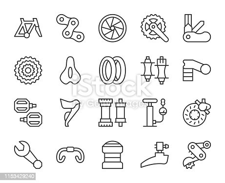 istock Bicycle Parts - Light Line Icons 1153429240
