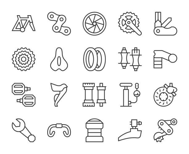 ilustraciones, imágenes clip art, dibujos animados e iconos de stock de piezas de bicicleta-iconos de línea de luz - bastidor de la bicicleta