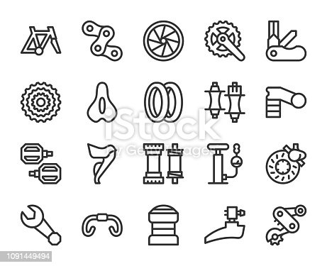 Bicycle Parts Line Icons Vector EPS File.