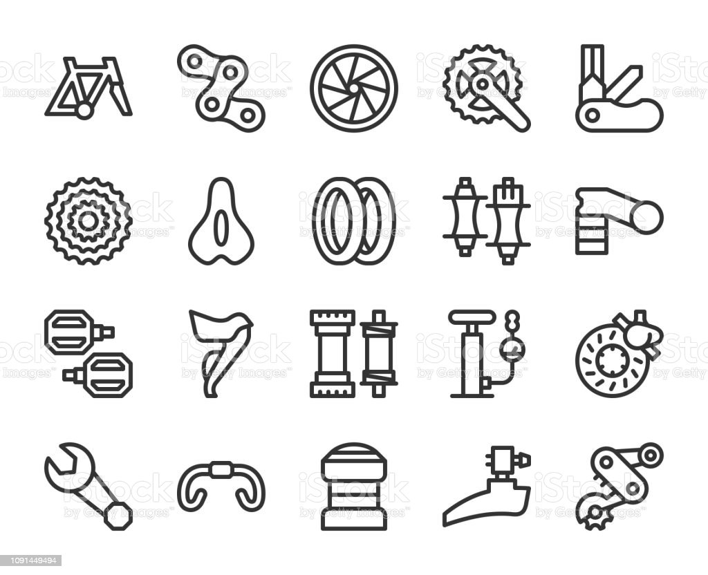 Bicycle Parts - Line Icons vector art illustration