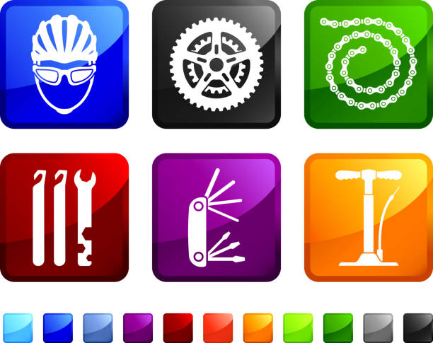 Bicycle Parts Repair royalty free vector icon set stickers Bicycle Parts Repair sticker set  bicycle chain stock illustrations