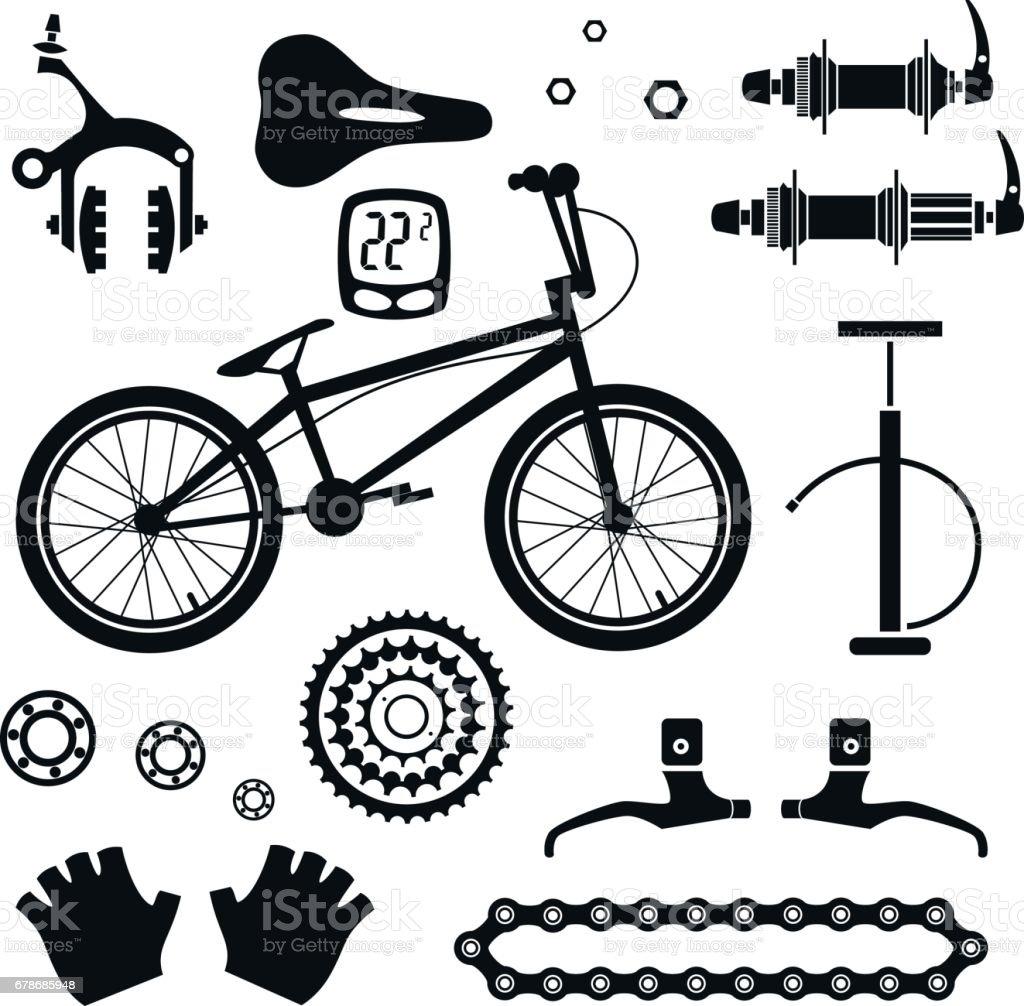 Fahrradteile. Vektor-Set. – Vektorgrafik