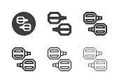 Bicycle Pedal Icons Multi Series Vector EPS File.