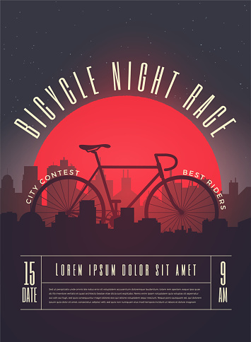 Bicycle Race Contest Poster Flyer Template. Vector Illustration.