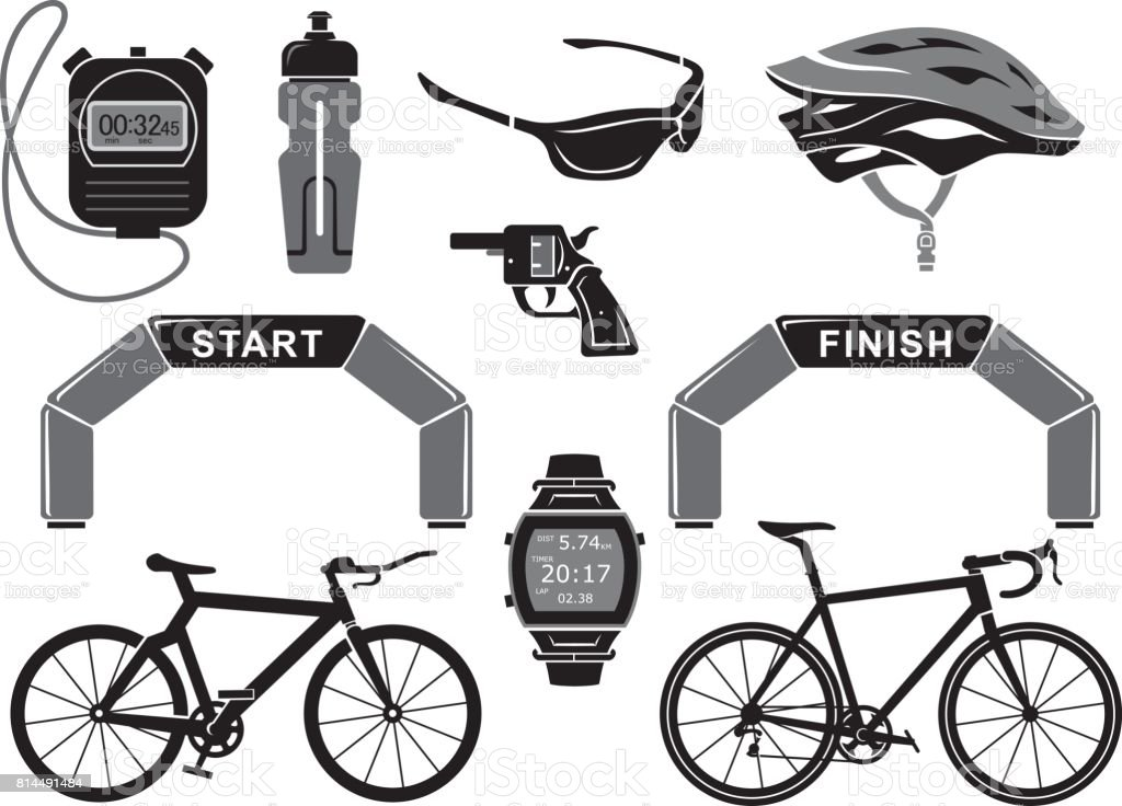 Bicycle Race Equipment or Objects vector art illustration