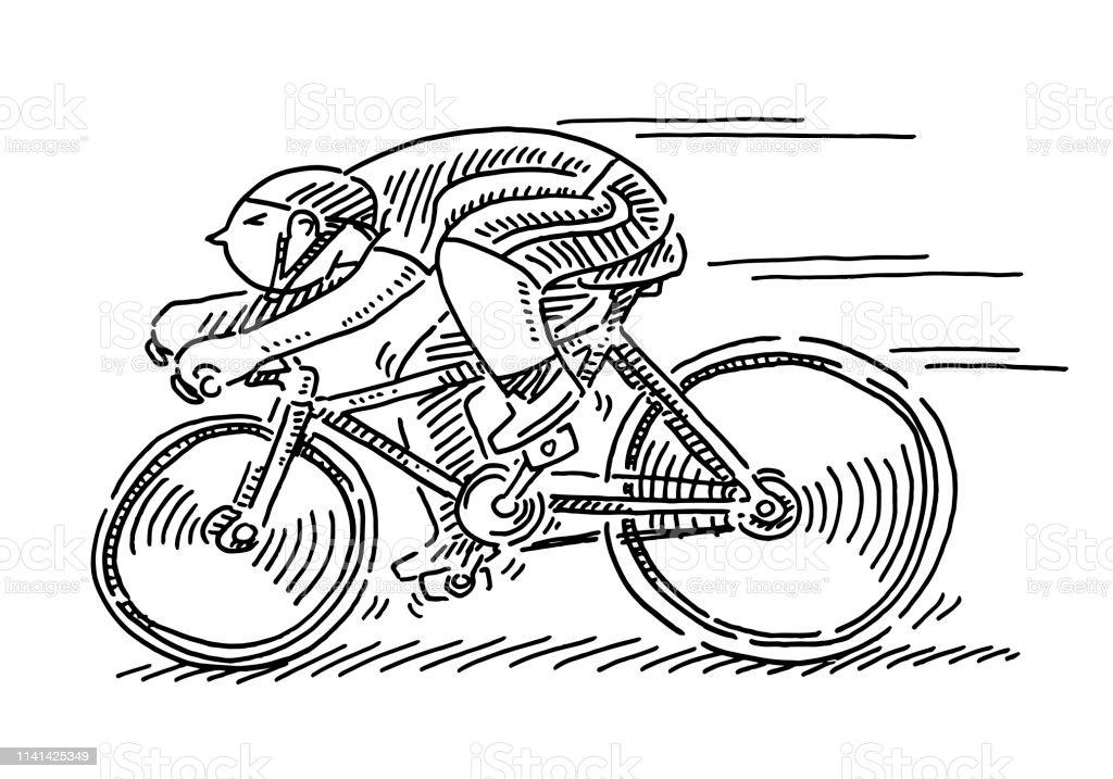 Vélo Course Sportsman Dessin Animé Figure Dessin Vecteurs
