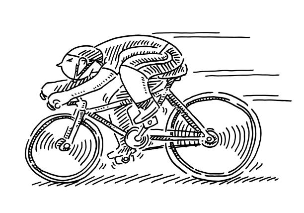 Bicycle Race Sportsman Cartoon Figure Drawing Hand-drawn vector drawing of a Bicycle Race Sportsman Cartoon Figure. Black-and-White sketch on a transparent background (.eps-file). Included files are EPS (v10) and Hi-Res JPG. cycling stock illustrations