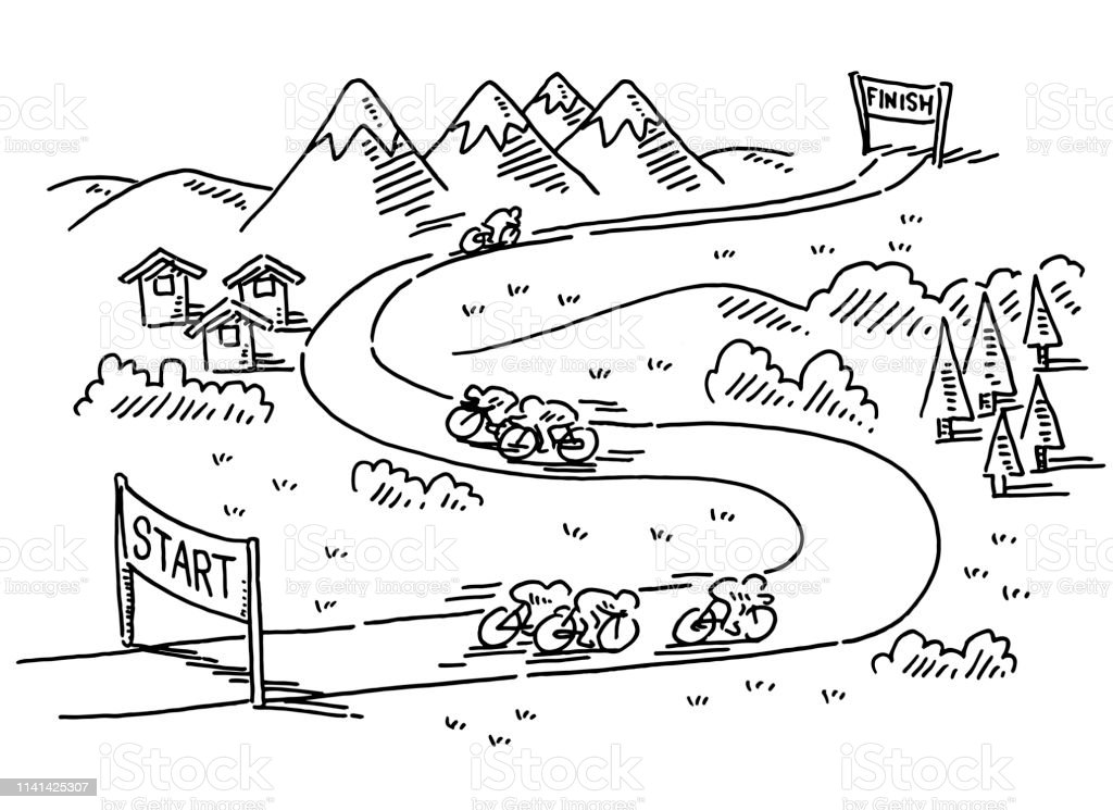 Hand-drawn vector drawing of a Bicycle Race from Start to Finish....