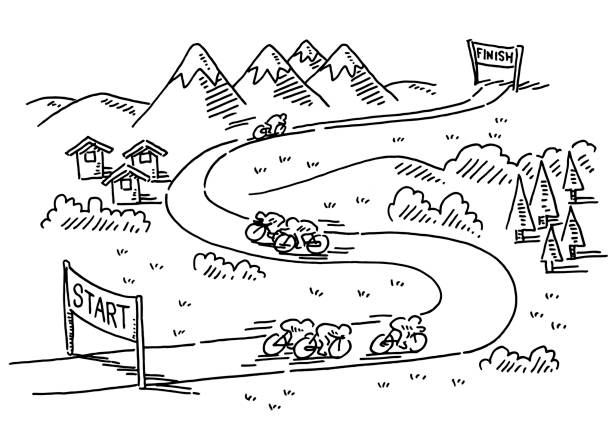 Bicycle Race Start Finish Drawing Hand-drawn vector drawing of a Bicycle Race from Start to Finish. Black-and-White sketch on a transparent background (.eps-file). Included files are EPS (v10) and Hi-Res JPG. cycling stock illustrations