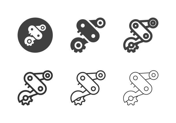 bildbanksillustrationer, clip art samt tecknat material och ikoner med cykel bakväxeln ikoner-multi-serien - derail