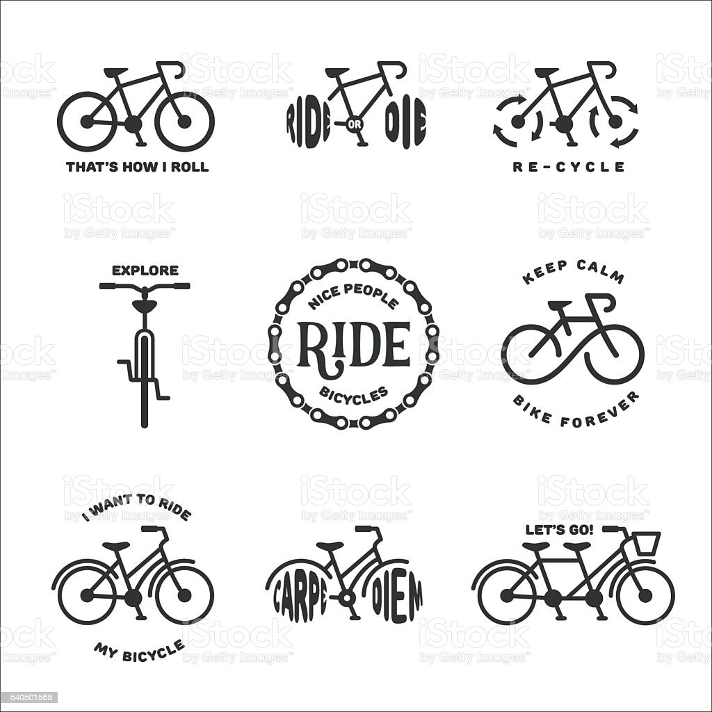 Bicycle related typography set. Vector vintage illustration. vector art illustration