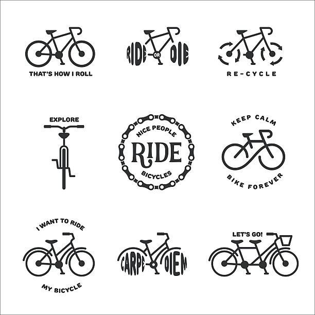 bicycle related typography set. vector vintage illustration. - bike stock illustrations, clip art, cartoons, & icons