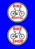 Bicycle rental, bicycle shop, two circle colored label or signboard. Black bike silhouette and headline in red design, Vector EPS 10