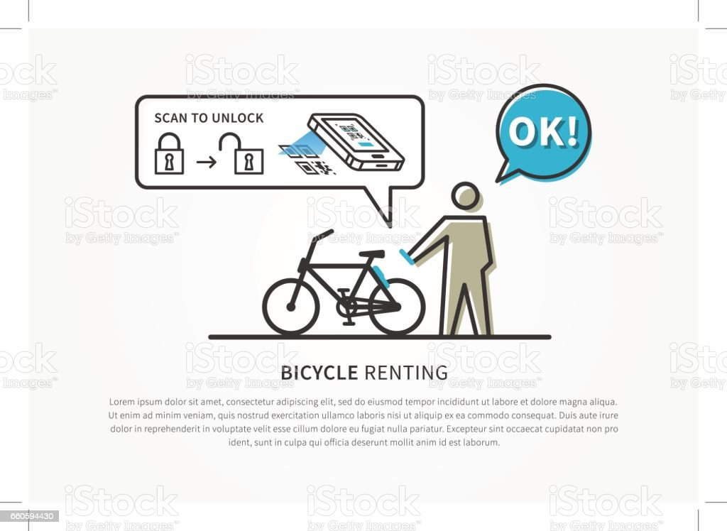 Bicycle Renting App Vector Illustration Stock Illustration Download Image Now Istock