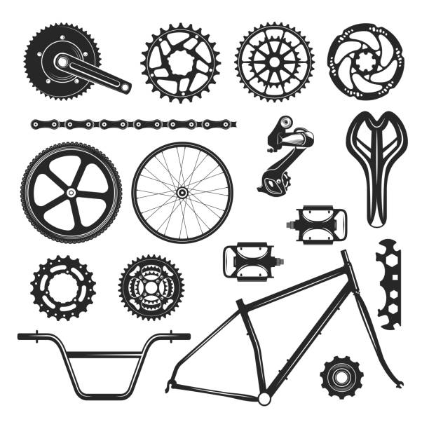 Bicycle repair parts set, vehicle element icon Bicycle repair parts set, vehicle element icon. Vehicle black accessories design. Vector flat style cartoon illustration isolated on white background bicycle chain stock illustrations