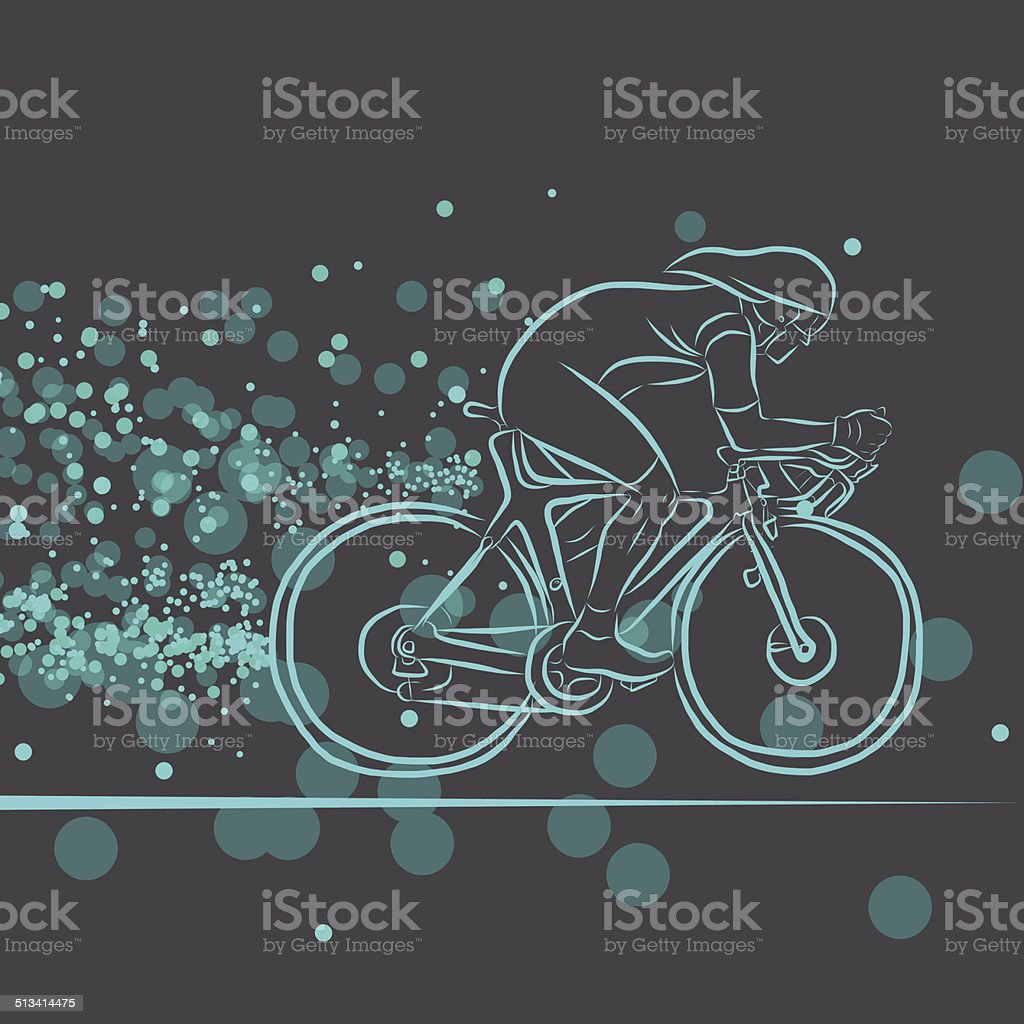 Bicycle Rider with Dots vector art illustration