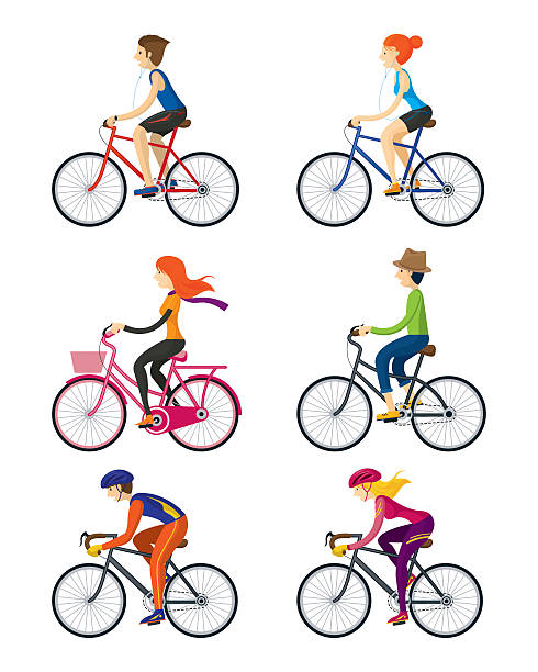 Bicycle Riders, Man, Woman, People vector art illustration