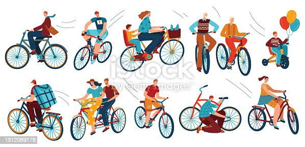 istock Bicycle riders on bikes, sport, isolated vector illustrations. Cyclist man, woman, children, hipster, older, racing cyclist on bike. 1312089178