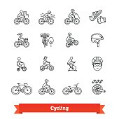 Bicycle riders thin line art icons set