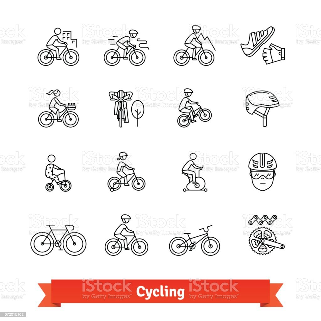 Bicycle riders thin line art icons set - illustrazione arte vettoriale