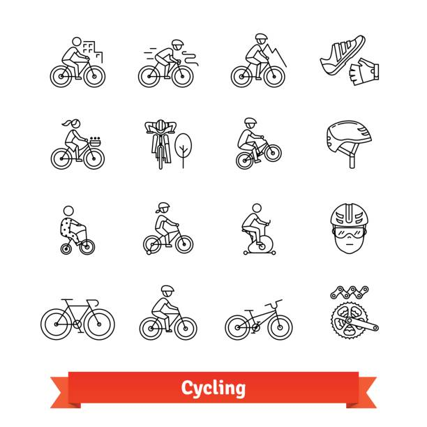 bicycle riders thin line art icons set - bike stock illustrations, clip art, cartoons, & icons
