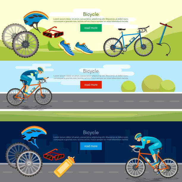 Bicycle riding banner professional cycling active lifestyle vector art illustration