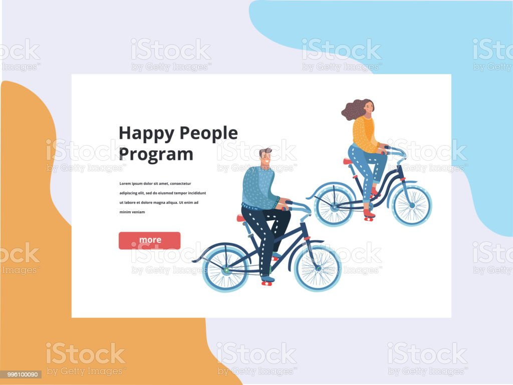 bicycle riding couple banner template royalty free bicycle riding couple banner template stock vector art