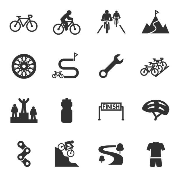 ilustraciones, imágenes clip art, dibujos animados e iconos de stock de bicicleta del montar a caballo, set de iconos de ciclismo. bicicleta y atributos. - andar en bicicleta