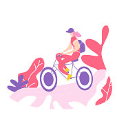 Bicycle riding girl. A walk on the bike. Cycling poses in trend colors. Flat vector illustration