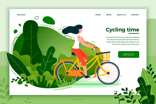 Bicycle riding girl. Park, forest, trees and hills