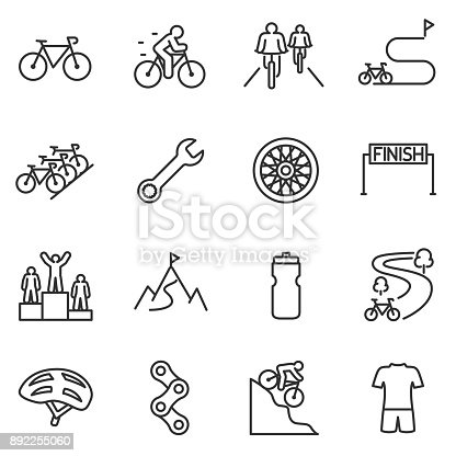 Bicycle riding icon set. cycling linear design. Bike and attributes.
