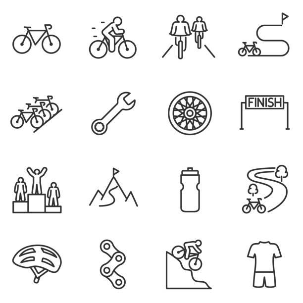 illustrazioni stock, clip art, cartoni animati e icone di tendenza di set di icone per la guida in bicicletta. ciclismo design lineare. bici e attributi. linea con tratto modificabile - ciclismo