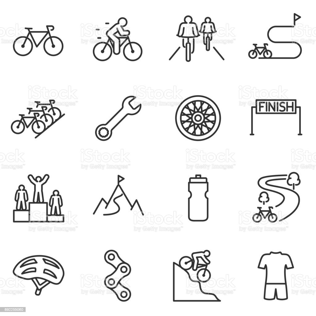 Bicycle riding icon set. cycling linear design. Bike and attributes. Line with editable stroke - illustrazione arte vettoriale
