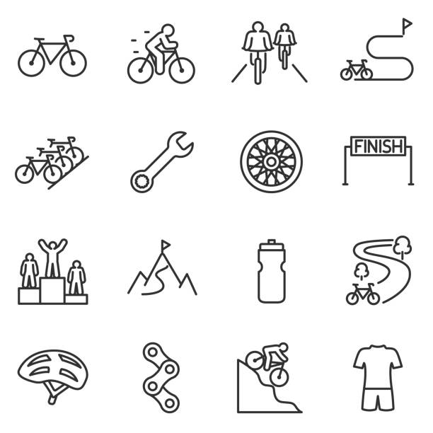 Bicycle riding icon set. cycling linear design. Bike and attributes. Line with editable stroke Bicycle riding icon set. cycling linear design. Bike and attributes. bicycle chain stock illustrations