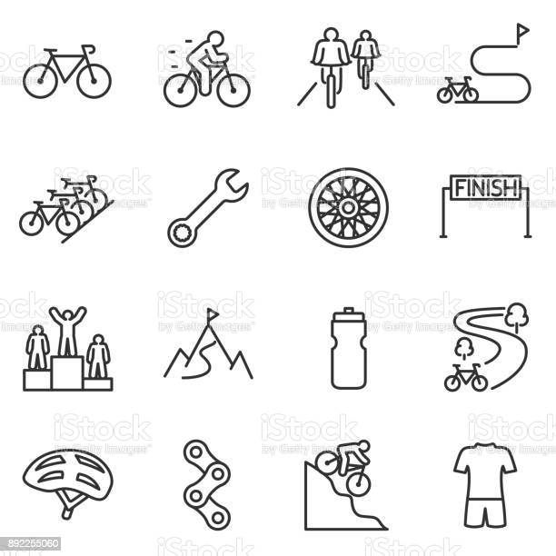 Bicycle Riding Icon Set Cycling Linear Design Bike And Attributes Line With Editable Stroke - Arte vetorial de stock e mais imagens de Atividades ao Ar Livre