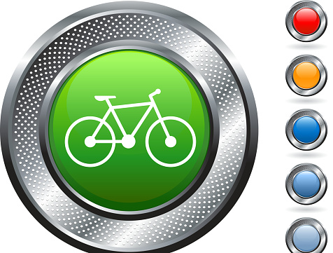 bicycle royalty free vector art on metallic button