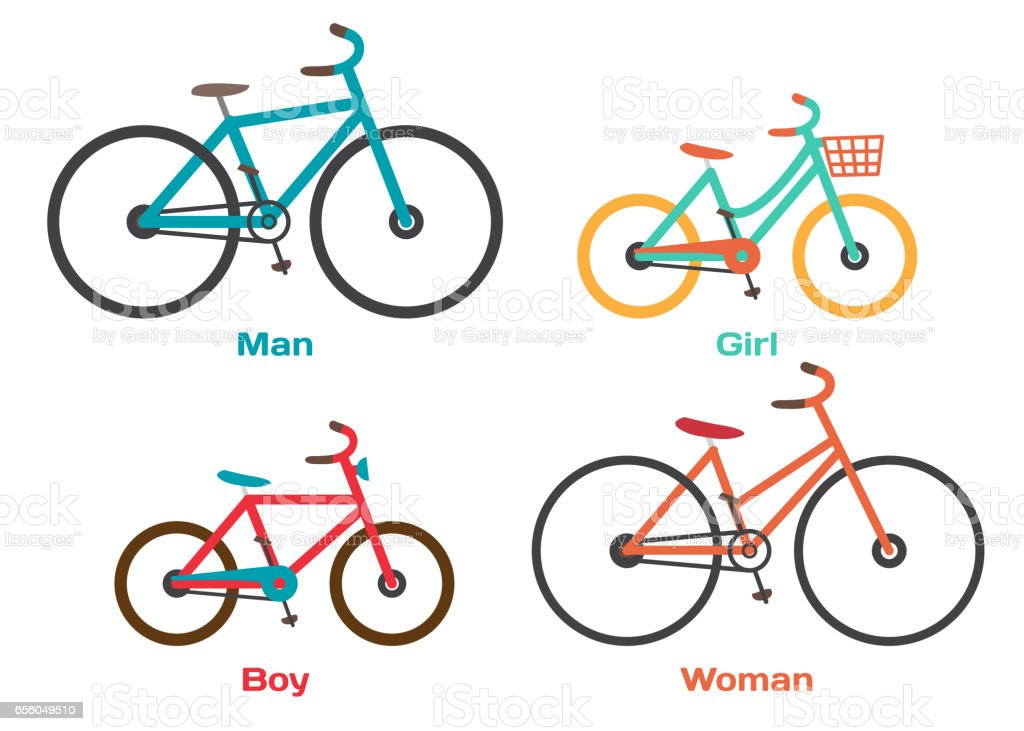 Bicycle Set for family ride vector art illustration