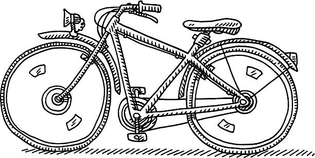 Bicycle Side View Drawing Hand-drawn vector drawing of a Bicycle, Side View. Black-and-White sketch on a transparent background (.eps-file). Included files are EPS (v10) and Hi-Res JPG. cycling stock illustrations