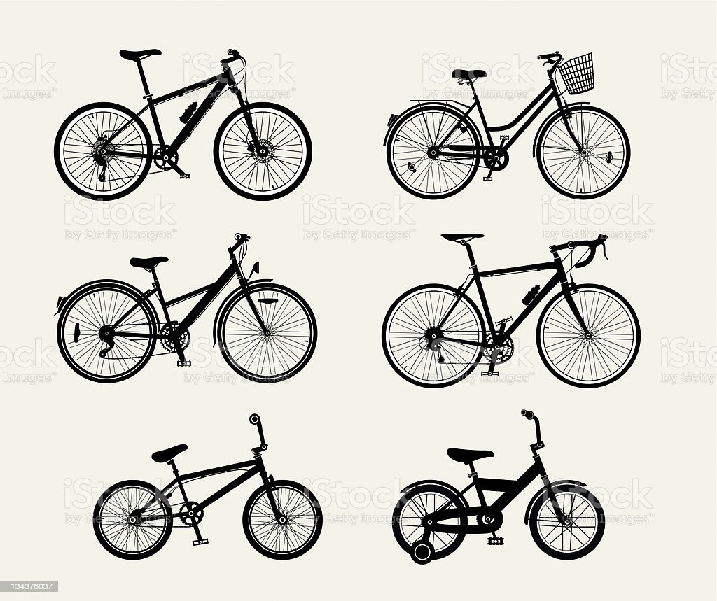 Bicycle Silhouettes vector art illustration