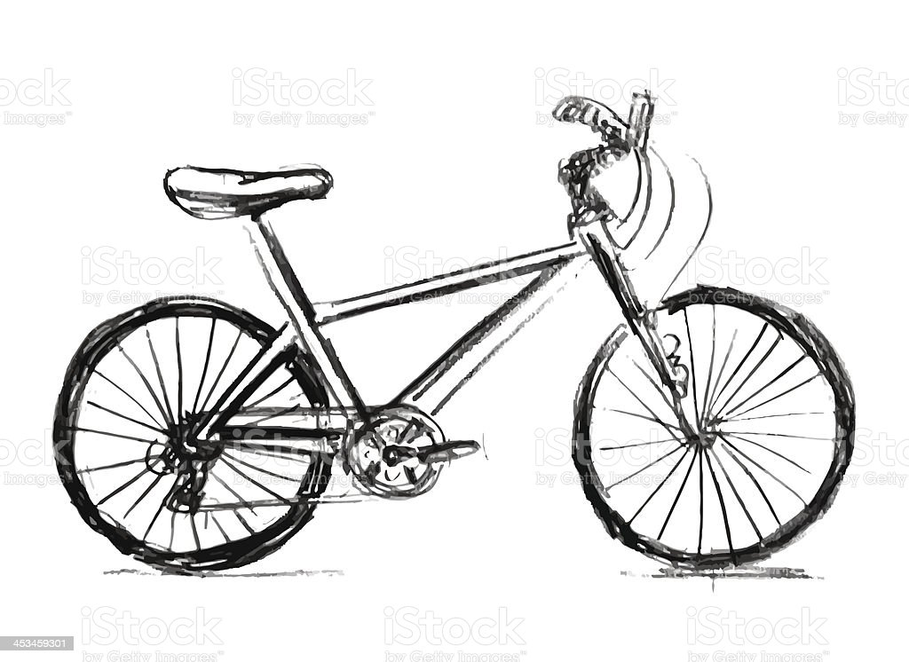 Notebook And Pen Sketch Stock Vector Art More Images Of: Bicycle Sketch Drawing Illustration Stock Vector Art