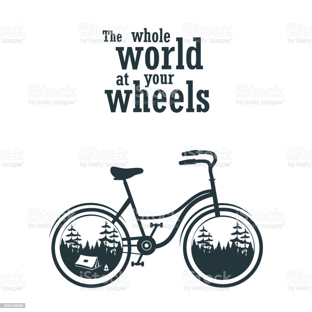 Bicycle slogan graphic with camping tent for t-shirt or other uses....